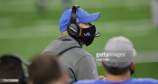 Interim head football coach Darrell Bevell of the Detroit Lions calls a play during the fourth quarter of the game against the Minnesota Vikings at...
