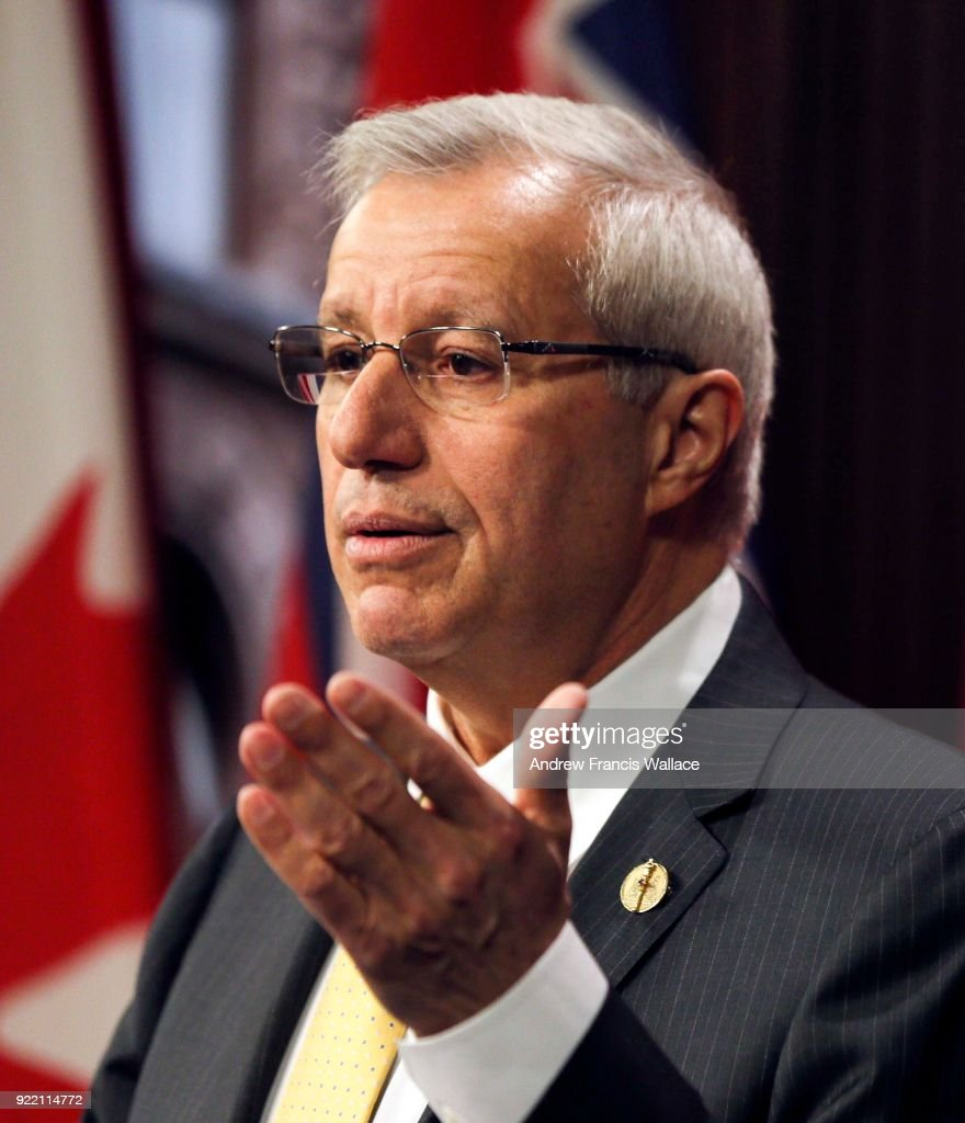 TORONTO, ON - FEBRUARY 20 - Interim head of Ontario's Progressive Conservatives Vic Fedeli during a press conference at Queens' Park, February 20, 2018.
