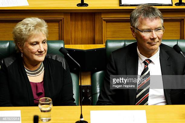 Interim Labour Leader David Parker and deputy Annette King look on during the Commission Opening of Parliament at Parliament on October 20 2014 in...