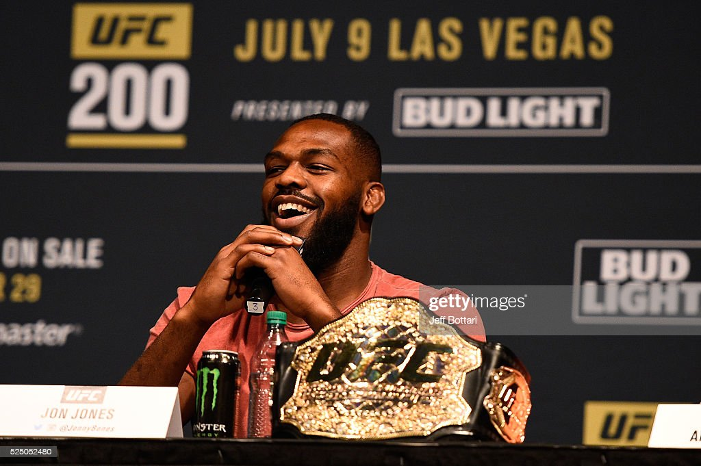 UFC interim light heavyweight champion Jon Jones interacts with fans and media during the UFC 200 New York press event at Madison Square Garden on April 27, 2016 in New York City.