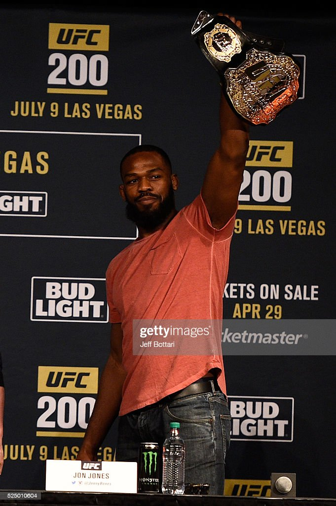 UFC interim light heavyweight champion Jon Jones interacts with the media and fans during the UFC 200 New York press event at Madison Square Garden on April 27, 2016 in New York City.