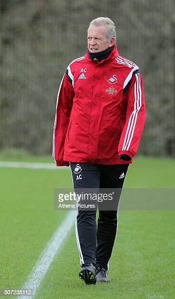 Interim manager Alan Curtis watches a game played by some of the players during the Swansea City Training Session on January 28, 2016 in Swansea,...