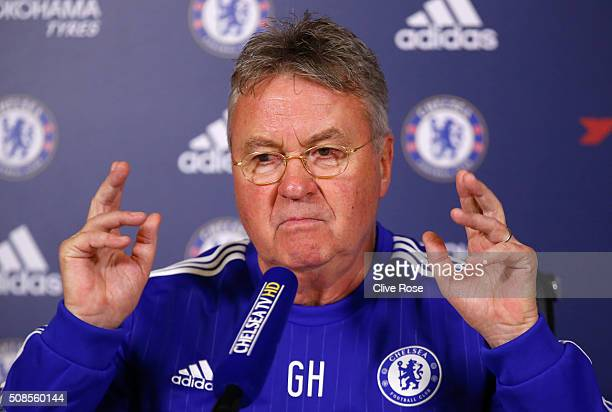 Interim manager Guus Hiddink of Chelsea talks to the media during a Chelsea Press Conference at Chelsea Training Ground on February 5, 2016 in...