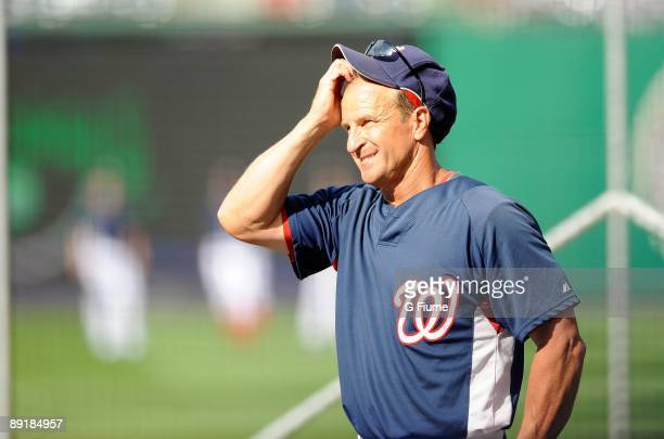 Interim Manager Jim Riggleman of the Washington Nationals watches batting practice before the game against the Chicago Cubs at Nationals Park on July...