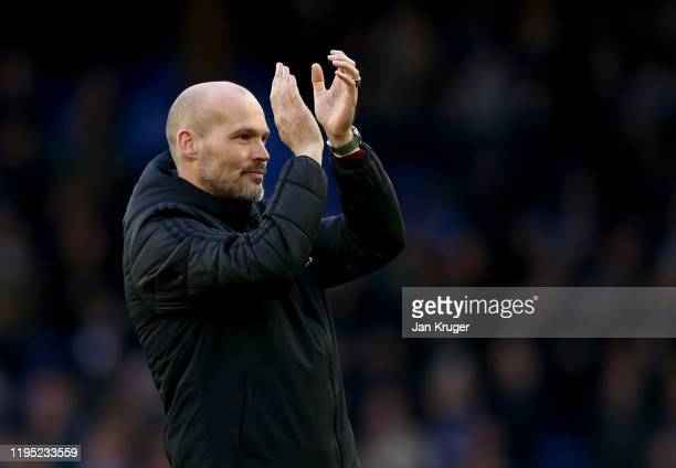Interim Manager of Arsenal Freddie Ljungberg acknowledges the fans after the Premier League match between Everton FC and Arsenal FC at Goodison Park...