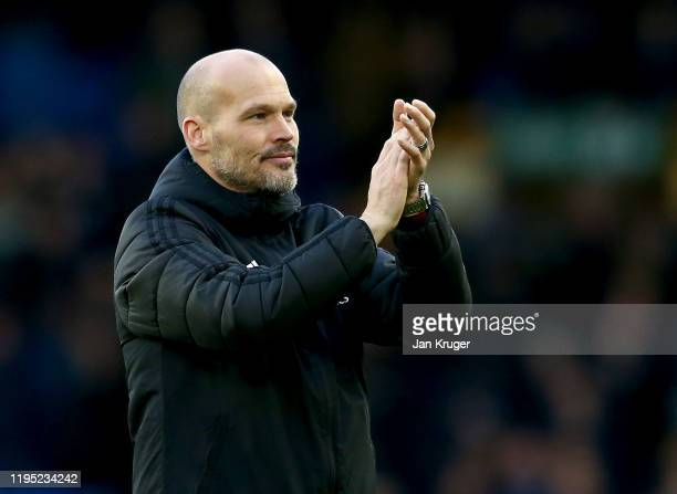 Interim Manager of Arsenal, Freddie Ljungberg acknowledges the fans after the Premier League match between Everton FC and Arsenal FC at Goodison Park...