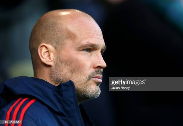 Interim Manager of Arsenal Freddie Ljungberg looks on during the Premier League match between Norwich City and Arsenal FC at Carrow Road on December...
