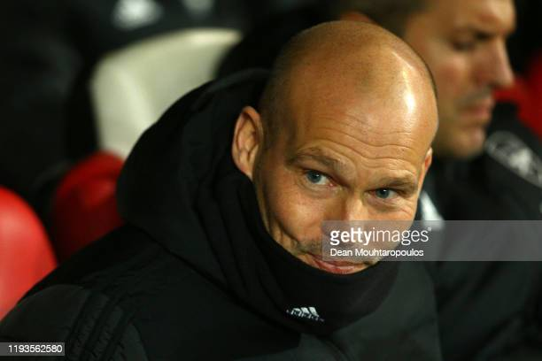 Interim Manager of Arsenal Freddie Ljungberg looks on prior to the UEFA Europa League group F match between Standard Liege and Arsenal FC at Stade...