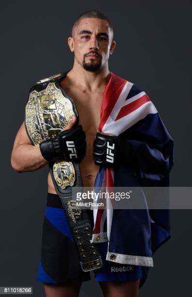 UFC interim middleweight champion Robert Whittaker poses for a portrait after his victory over Yoel Romero during the UFC 213 event at TMobile Arena...
