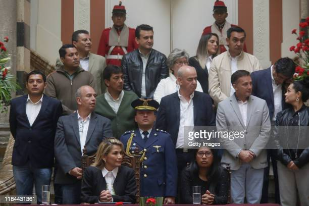 Interim president Jeanine Añez during a press conference to approve the bill to call for fresh elections at Bolivian Palace of Government known as...