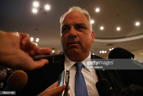 Interim President Nenad Lalovic is interviewed in the mixed zone as wrestling is voted to be included in the 2020 Summer Olympic Games during the...