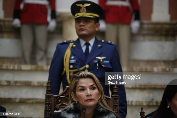 Interim President of Bolivia Jeanine Añez speaks during a press conference at presidential palace on November 15 2019 in La Paz Bolivia Morales flew...