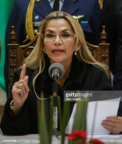 Interim President of Bolivia Jeanine Añez speaks regarding a bill to protect former President Evo Morales during a press conference at Bolivian...