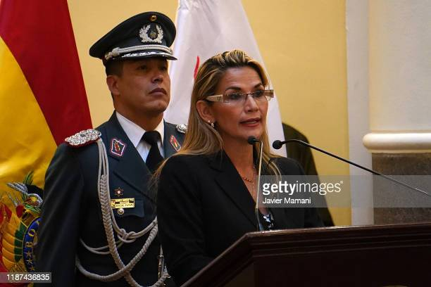 Interim President of Bolivia Jeanine Anez talks during a conference at the presidential palace on November 13, 2019 in La Paz, Bolivia. Bolivia faces...