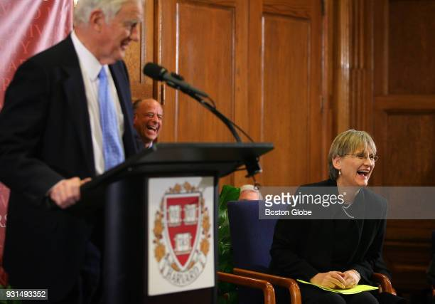 Interim President of Harvard University Derek Bok makes President Elect Drew Gilpin Faust laugh with his remarks about the position of the Harvard...