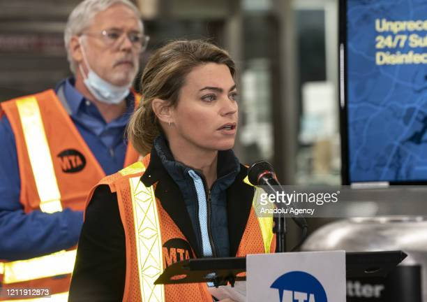 Interim President of MTA New York City Transit Sarah Feinberg addresses media at 96th street station in New York United States on May 06 2020 In...