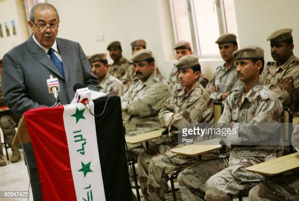 Interim Prime Minister Iyad Allawi speaks to members of the Iraqi Naval Academy during a tour of the southern region January 22 2005 in Umm Qasr Iraq...