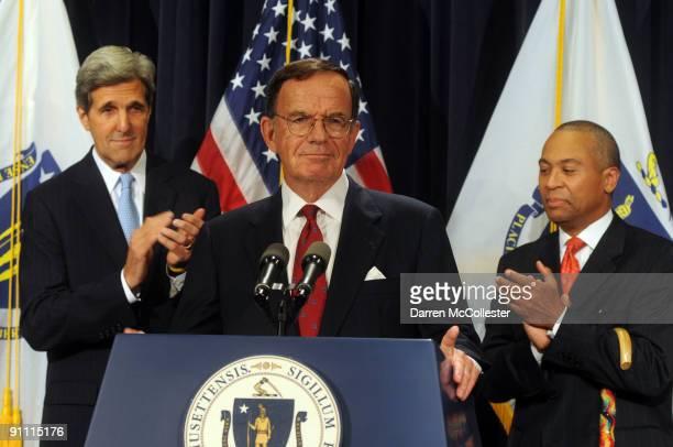 Interim Senator Paul G. Kirk Jr. Speaks as U.S. Senator John Kerry and Massachusetts Democratic Governor Deval Patrick look on at a press conference...
