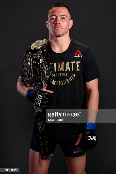 UFC interim welterweight champion Colby Covington poses for a post fight portrait backstage during the UFC 225 event at the United Center on June 9...