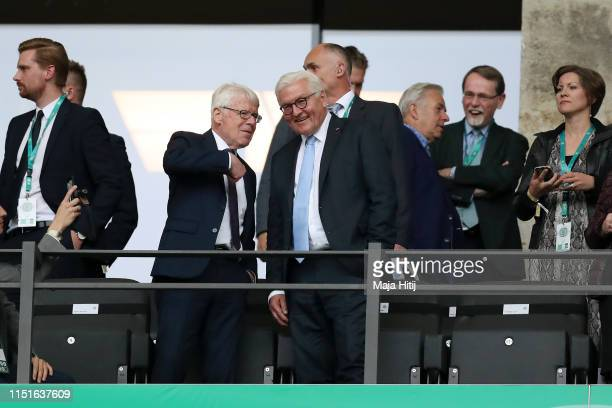 DFB interims president Dr Reinhard Rauball and German federal president FrankWalter Steinmeier have a chat prior to the DFB Cup final between RB...