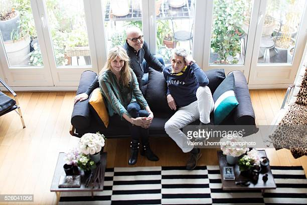 Interior architect Sarah Lavoine and designers Michel Klein and Eric Fournier are photographed for Madame Figaro on March 21 2016 in Paris France...