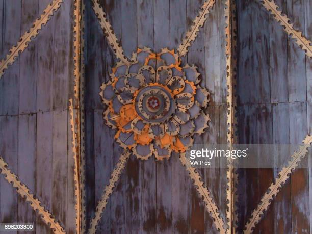Interior architectural detail of ceiling woodwork The Church of Saint Mary of Loreto Achao Quinchao Island was built in 1730 and declared a National...
