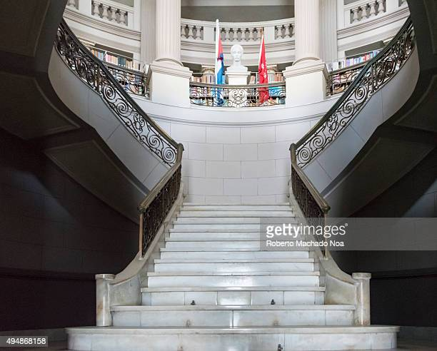 Interior architecture at Ruben Martinez Villena library in Sancti Spiritus Cuba Staircase leading to the upper floors and other architectural details...