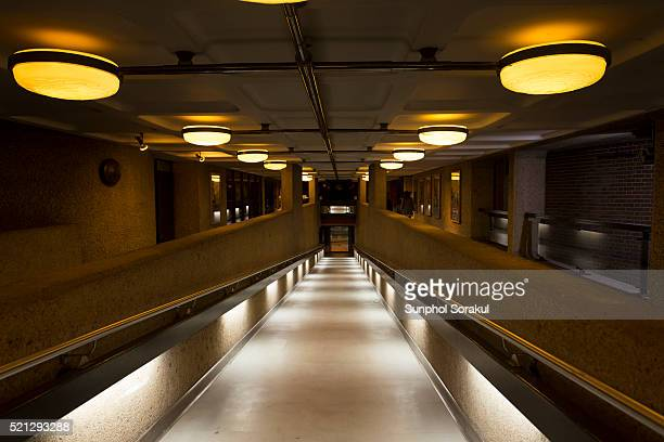 Interior architecture of the ramp leading to the Barbican Centre Art and performance venue