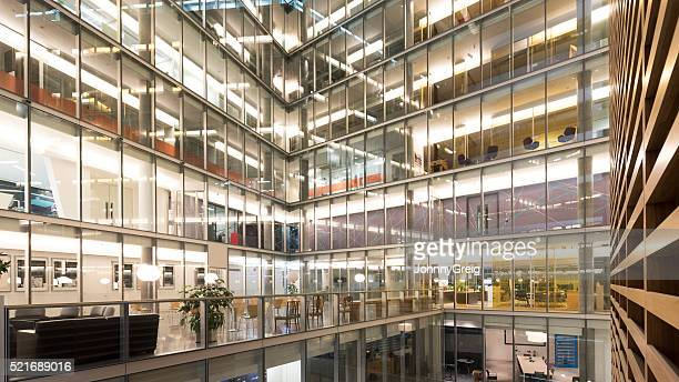 Interior atrium of modern office building