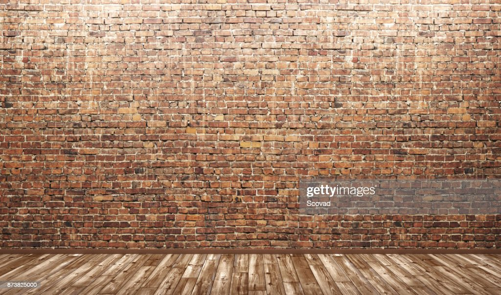 Interior Background Of Room With Brick Wall And Wooden Floor 3d