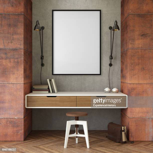 interior business office wall with picture frame - interior design foto e immagini stock