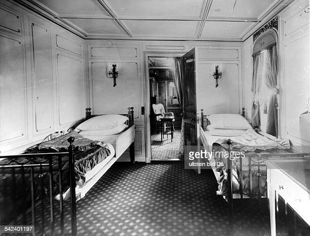 LUSITANIA INTERIOR Interior cabin with a bedroom and living room on the Cunard ocean liner 'Lusitania' Photograph 1907 or 1908