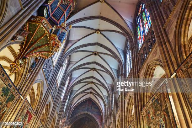 Interior ceiling of Notre-Dam Cathedral in Strasbourg