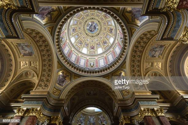 interior ceiling of st stephens basilica, budapest - geometrical architecture stock photos and pictures