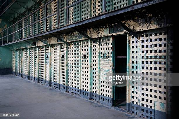 interior cell block in old prison in boise, idaho - terryfic3d stock pictures, royalty-free photos & images