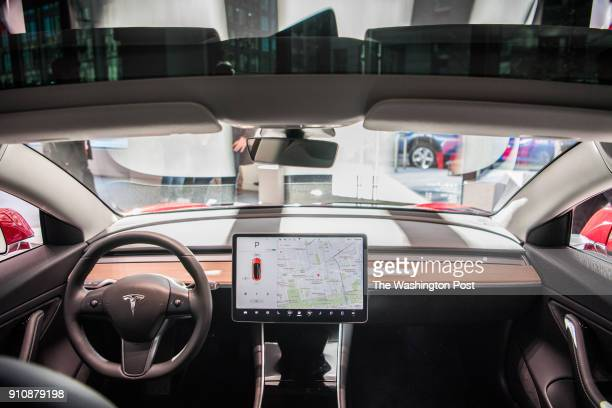 A interior dash view of Tesla's new Model 3 car on display is seen on Friday January 26 at the Tesla store in Washington DC