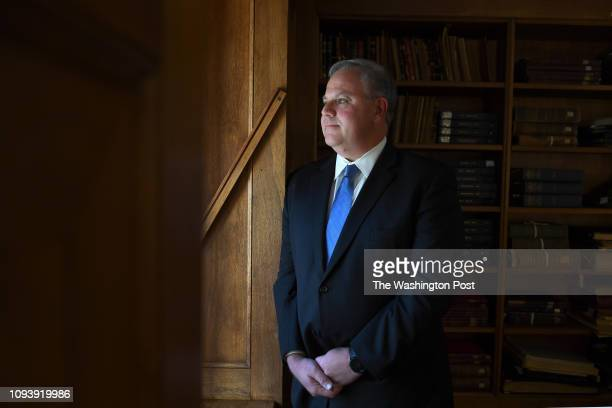 Interior Deputy Secretary David Bernhardt poses for a photograph in the library at the Department of the Interior October 18 2018 in Washington DC He...