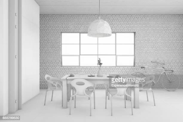 Interior design apartment dining room concept illustration