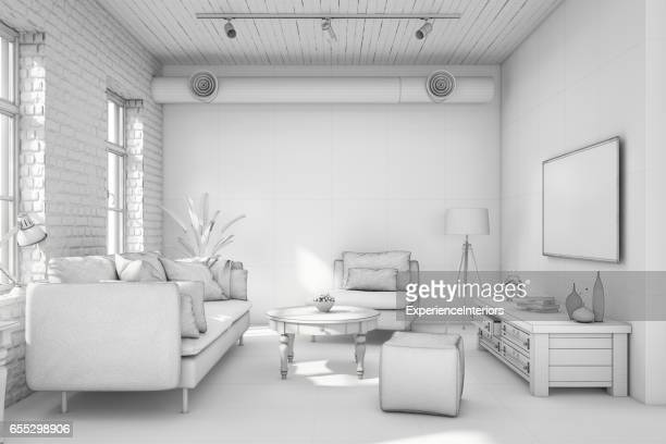 Interior design apartment white template