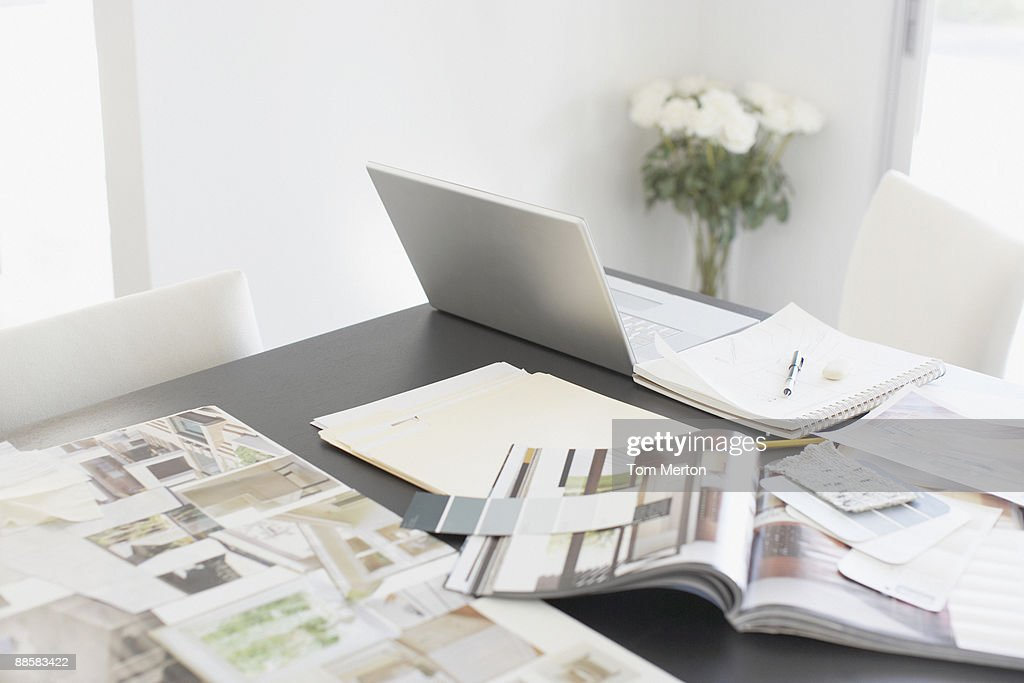 Interior design books on table : Stock Photo