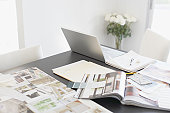 Interior design books on table