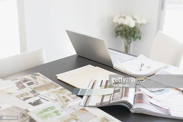 interior design books on table - magazine stock pictures, royalty-free photos & images