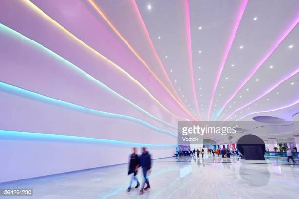 interior design in the new shopping mall in moscow - ceiling stock pictures, royalty-free photos & images