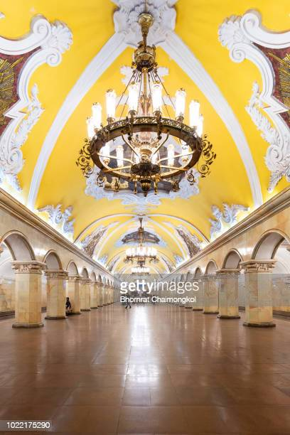 interior design of the komsomolskaya metro station in moscow, russia. - モスクワ市 ストックフォトと画像
