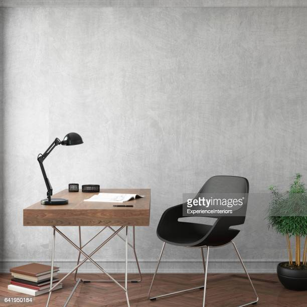 Interior design office with empty wall