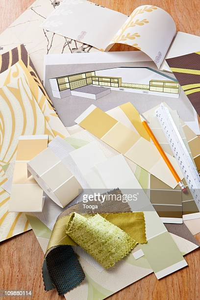 Interior design rendering with swatches