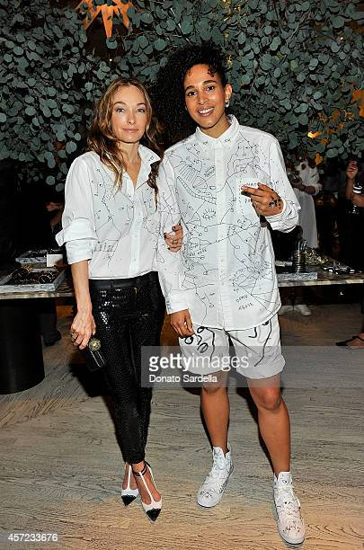 Interior designer Kelly Wearstler and artist Shantell Martin attend Kelly Wearstler x Shantell Martin Collection Launch on October 14 2014 in Los...