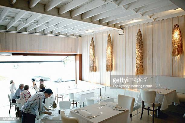 Interior Designer Mr Michael McCann in the new White Water Restaurant in Manly Pictured is the Net like things hanging on the wall in the dining room...