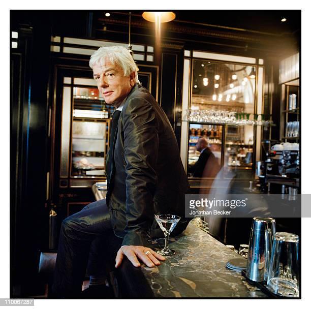 Interior Designer Nicky Haslam is photographed for Tatler Magazine at the Wolseley Restaurant on September 3 2009 in London England Published image