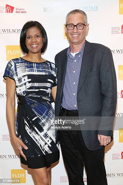 Interior designer Robin Wilson and Steven Ambers attend the book signing of Clean Design at FLOR Design Store on April 21 2015 in New York City